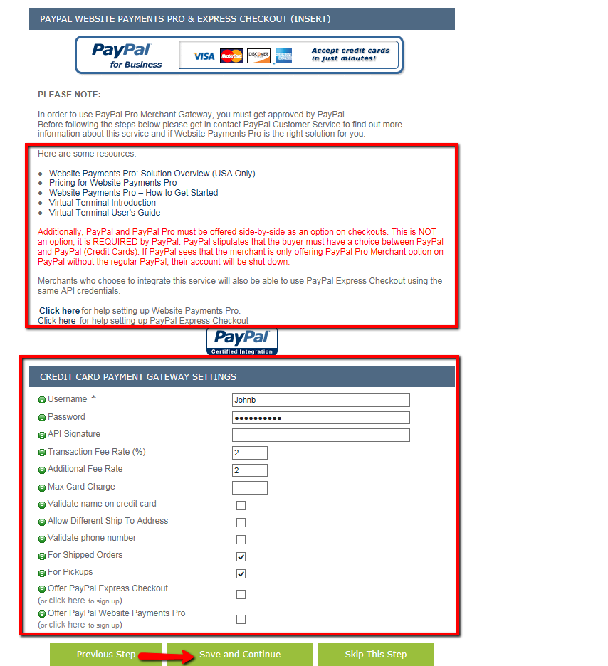 Step 9: Payment Receiving Settings > PayPal PRO – Kyozou