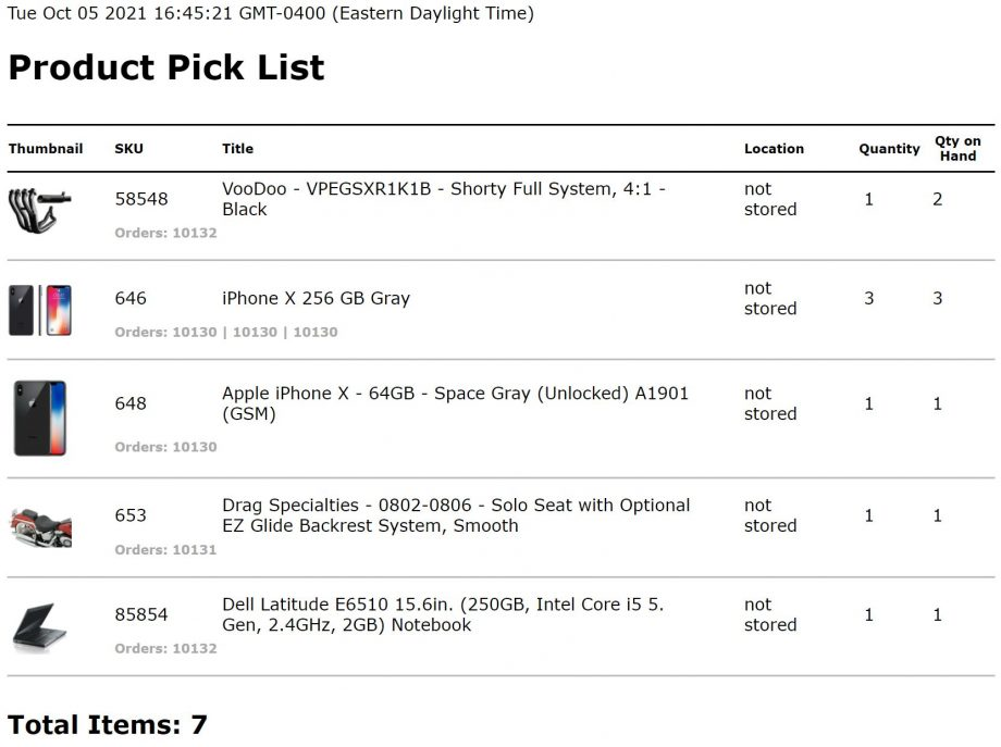 pick list print